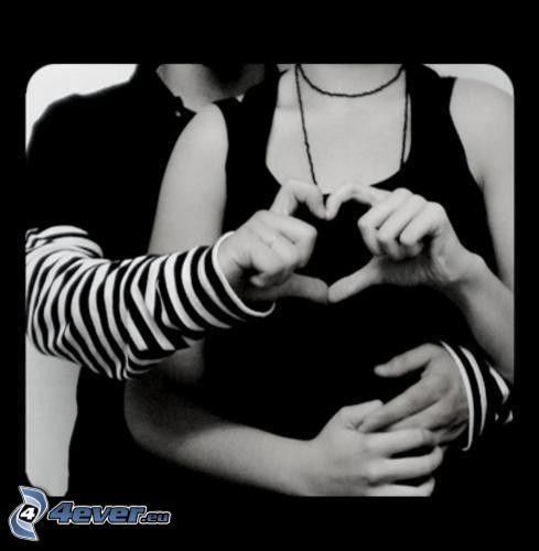 hjärta av händer, emo par, kärlek