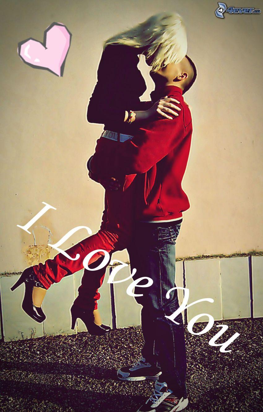 Jag älskar dig, kram, kyss, hjärta