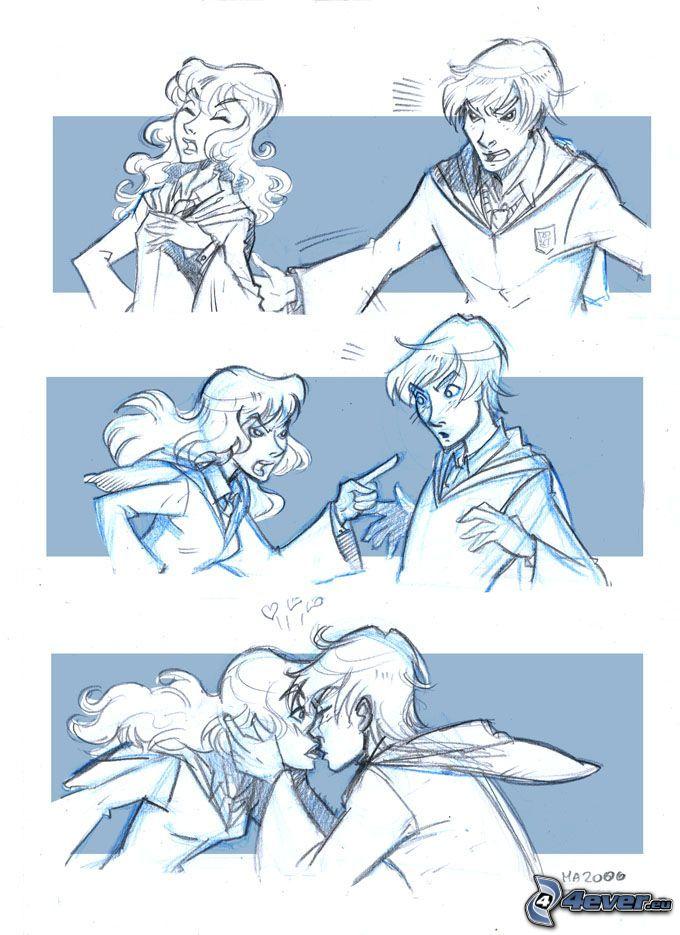 kärlek, hat, tecknade serier