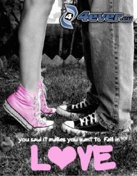 kärlek, kyssar, skor, tennisskor, gräs