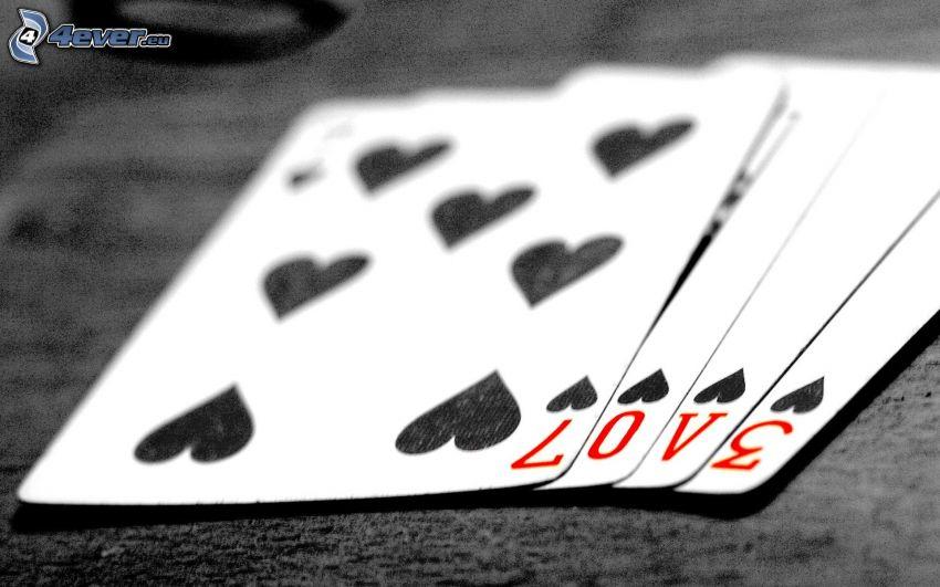 kort, love, hjärtan