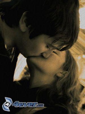 kyss, par, kärlek, lycka