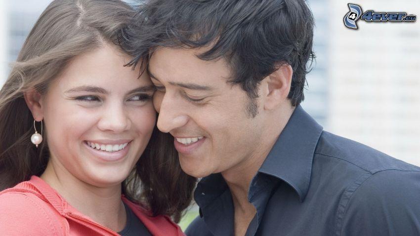 lyckligt par, leende