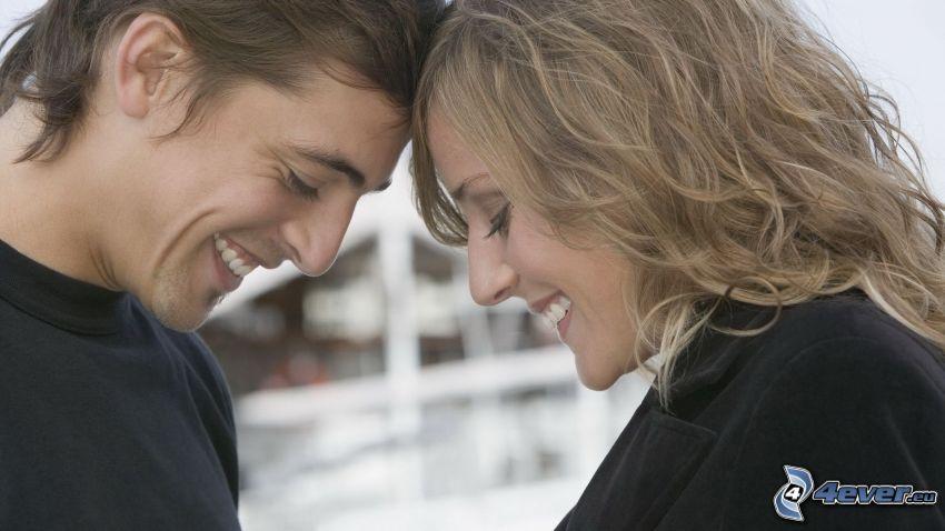 lyckligt par, skratt