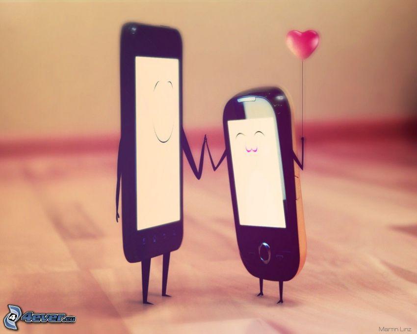 mobiltelefon, hjärta, par