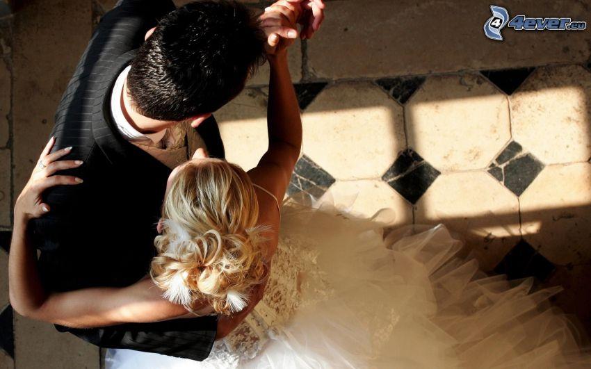 nygifta, bröllop, par, dans