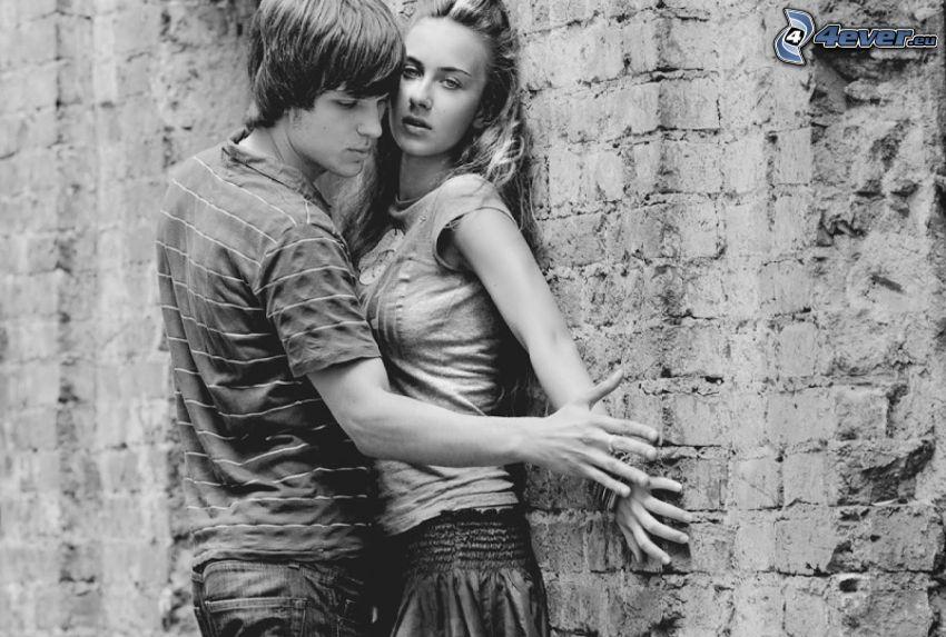 par, svartvitt foto