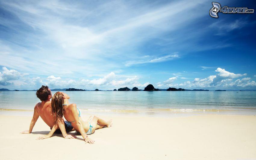 par på stranden, sand, hav, himmel, moln