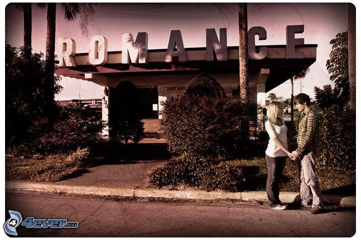 romantik, par, kärlek, station