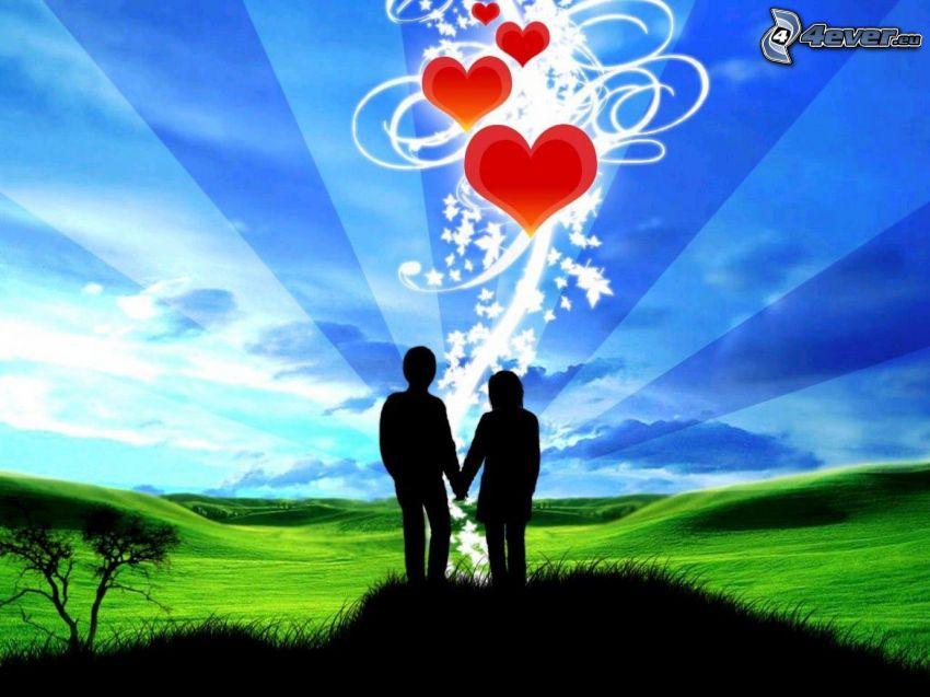 silhuett av ett par, grön äng, röda hjärtan, kärlek, digital konst