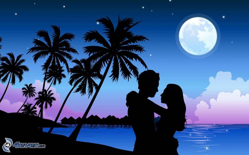 silhuett av ett par, palmer, måne