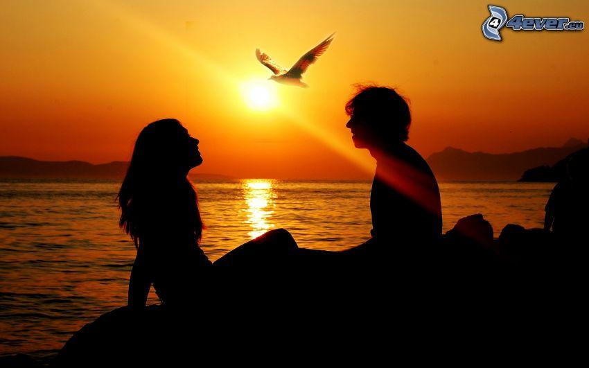 silhuett av ett par, solnedgång över hav, örn