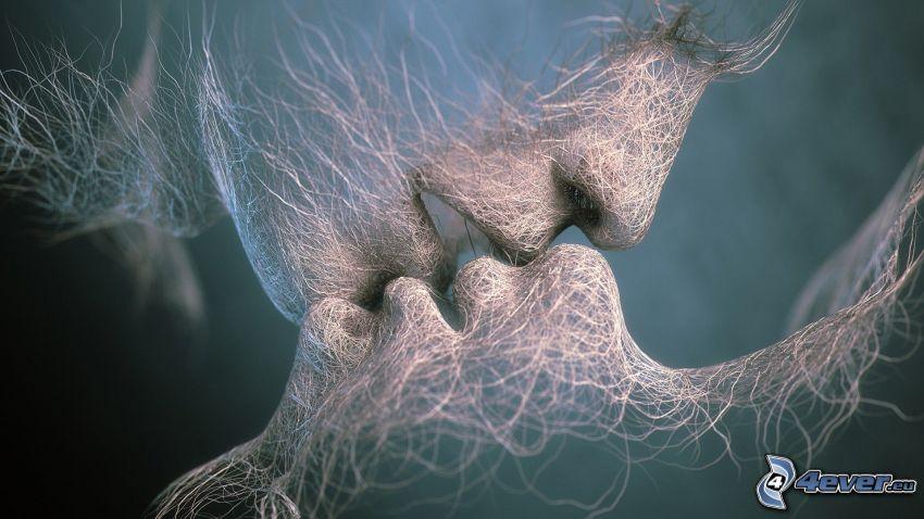 tecknat par, ådror, kyss