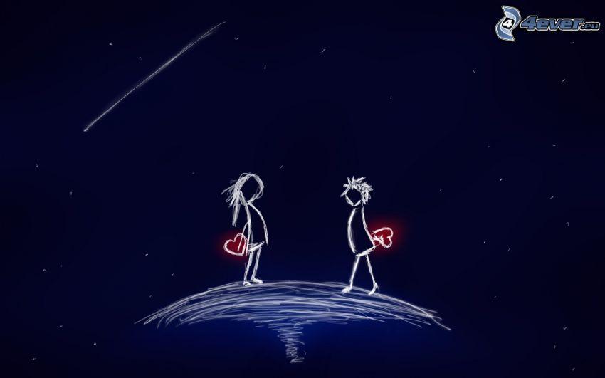 tecknat par, hjärtan, komet