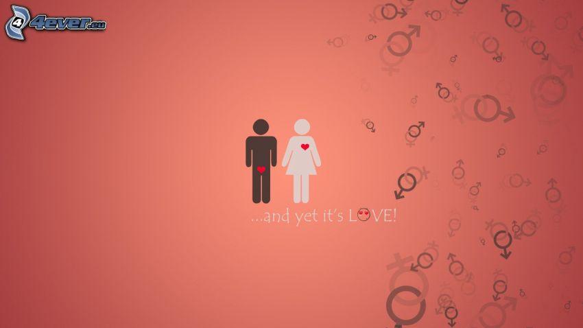 tecknat par, kärlek