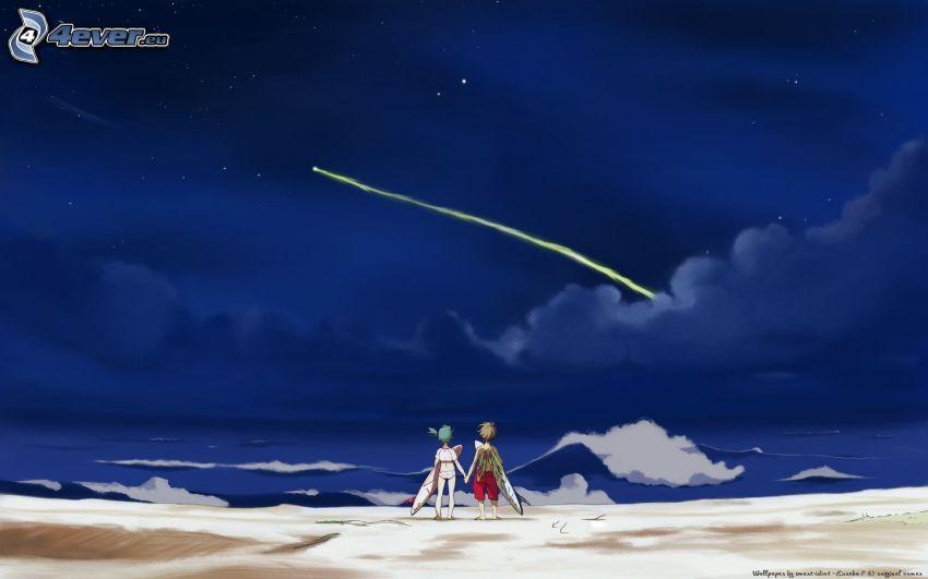 tecknat par, natt, komet, surf, hav