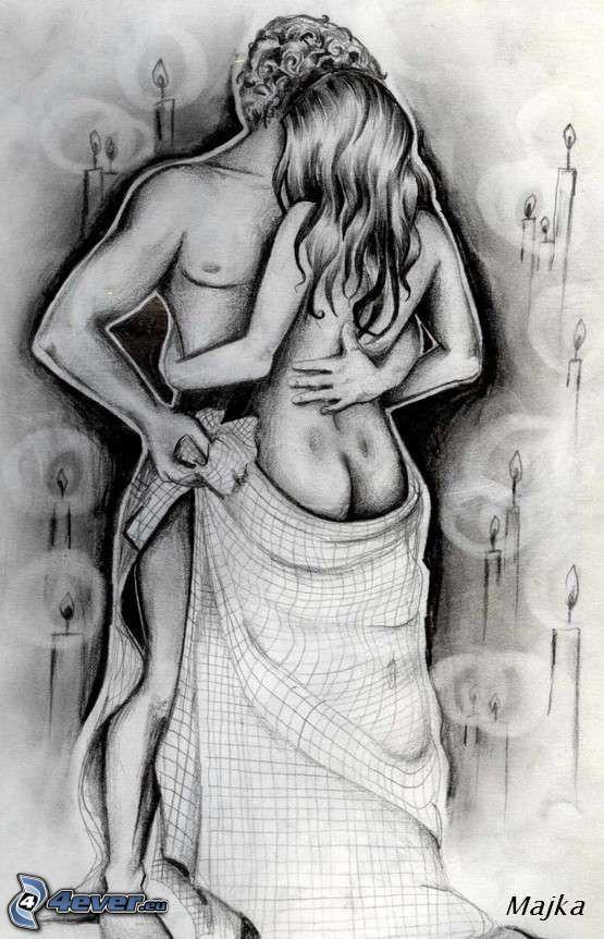 tecknat par, romantik, beröring, erotik, älskande, sex