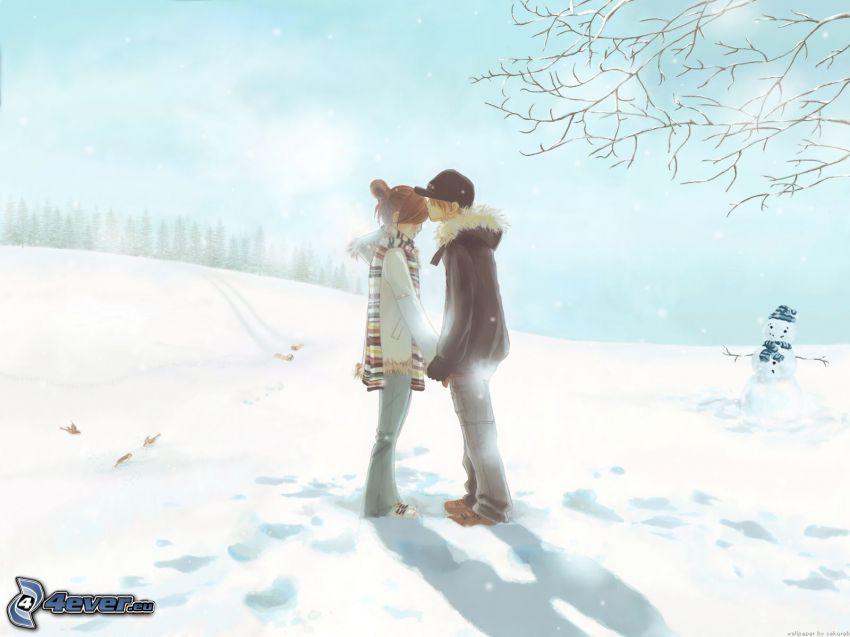 tecknat par, snö