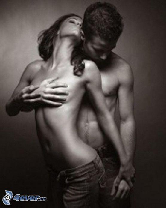upphetsande beröring, sexig kram, hand på brösten, par, passion