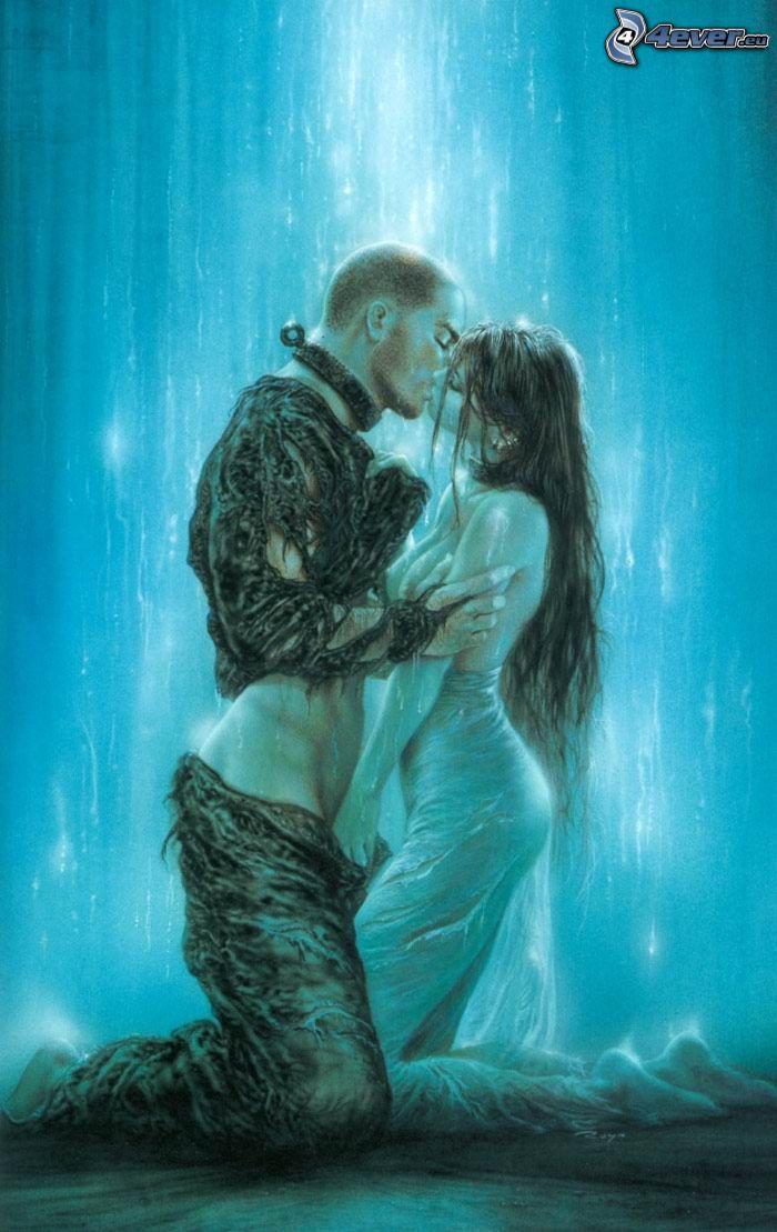 upphetsande beröring, vattenfall, par, erotik, passion, kyss, tecknat, Luis Royo