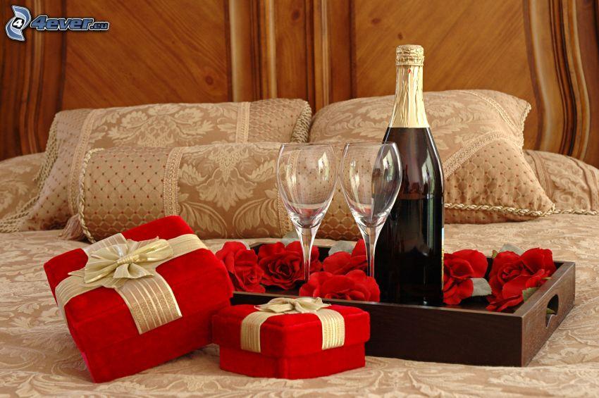 romantik, champagne, gåvor, rosor, säng