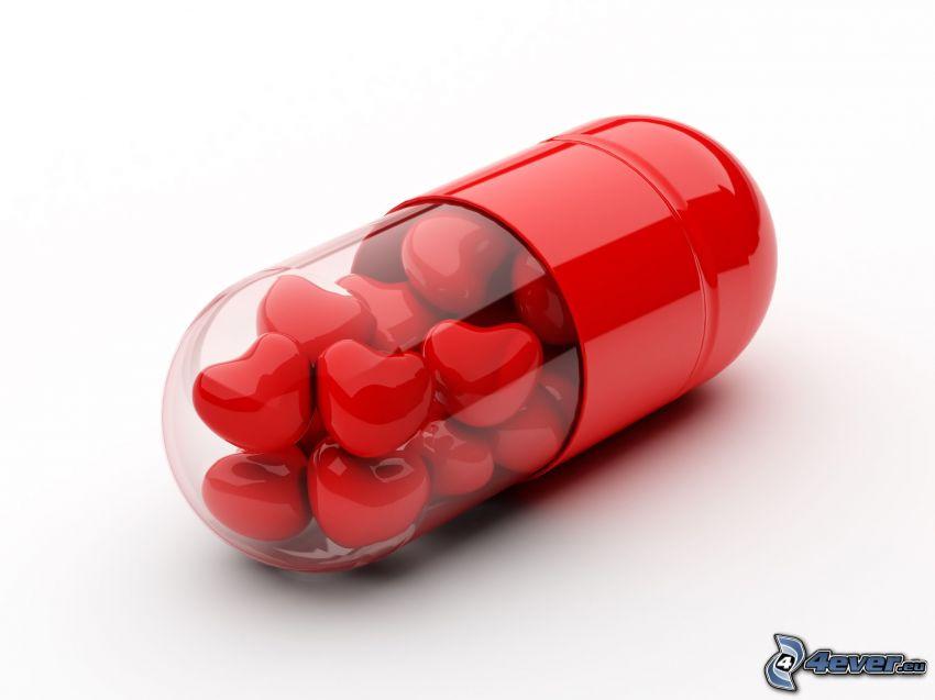 tablett, röda hjärtan