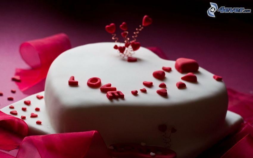 tårta, hjärtan, love