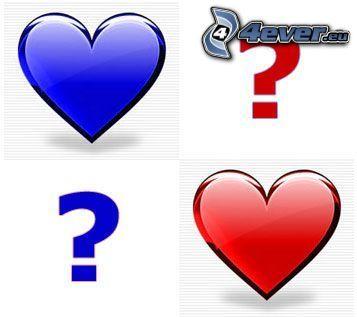 frågetecken, hjärtan