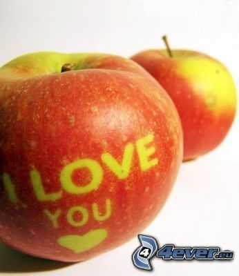 I love you, äpple, kärlek