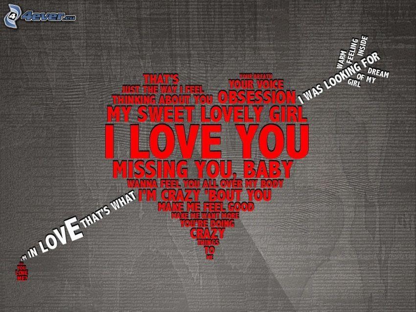 I love you, genomborrat hjärta, Amor, pil, kärlek, text