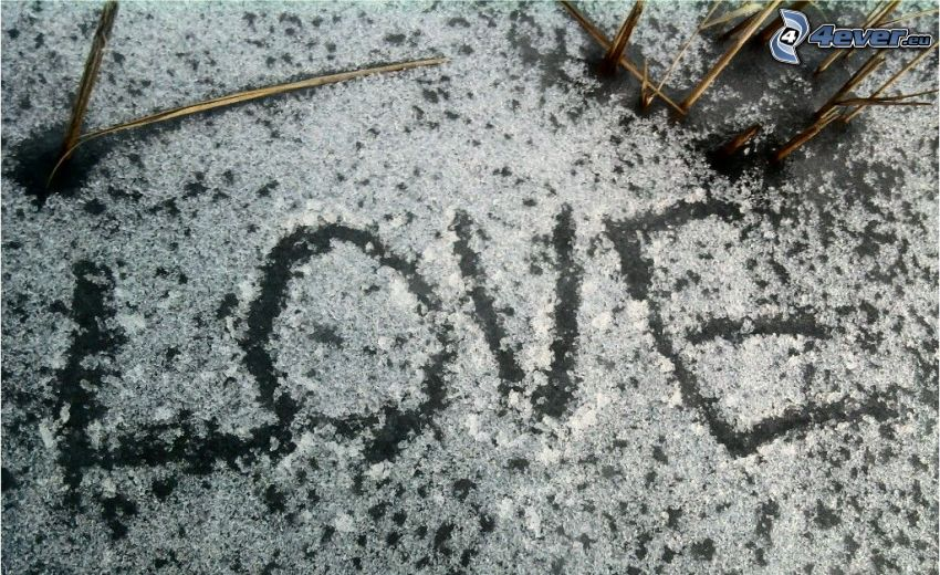 kärlek, vinter, is, snö