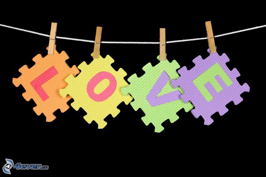 love, puzzle, klädnypor på tråd