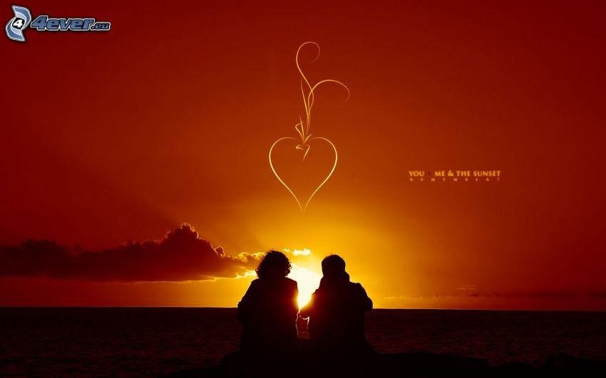 you & me, par vid solnedgång, silhuett av ett par, hjärta
