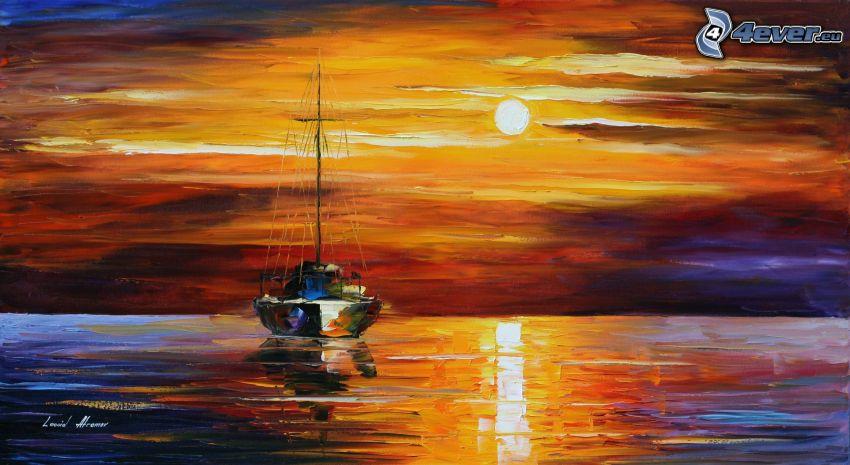 båt, hav, sol, oljemålning