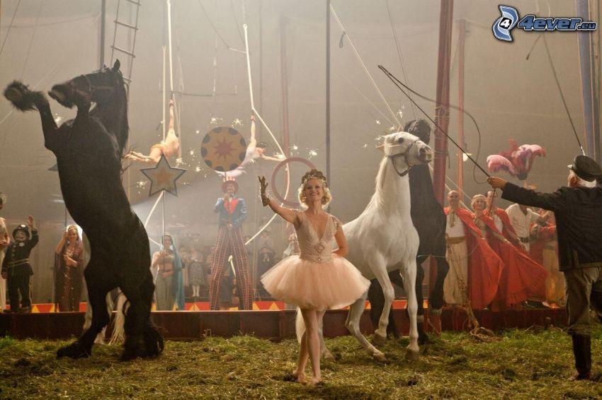 cirkus, balettdansös, hästar
