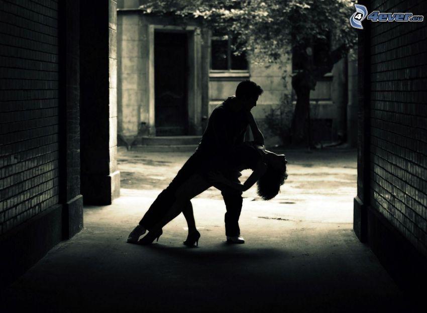 dans, man och kvinna, gata, svart och vitt