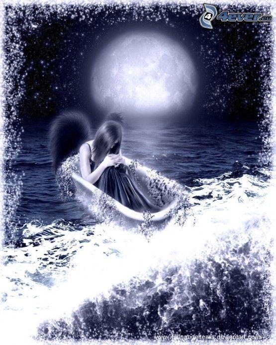 fallen ängel, badkar, hav, måne