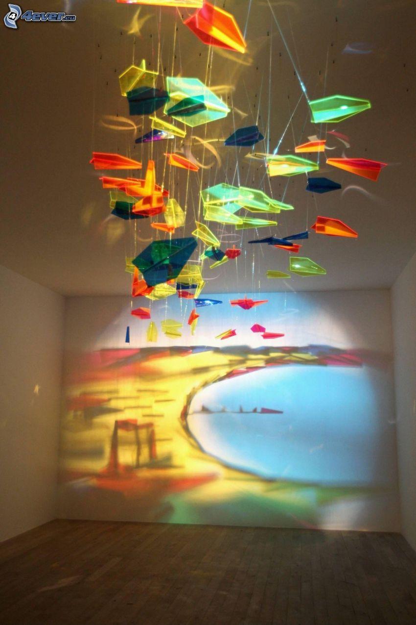 färggrannt ljusspel, rum, vägg