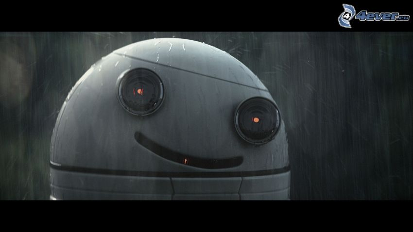 Blinky, robot, leende, regn