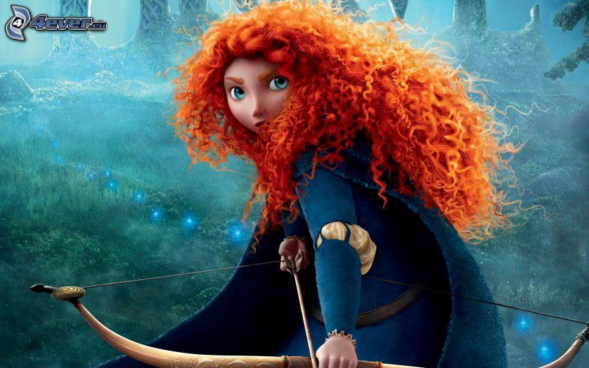 Brave, rödårig flicka, båge