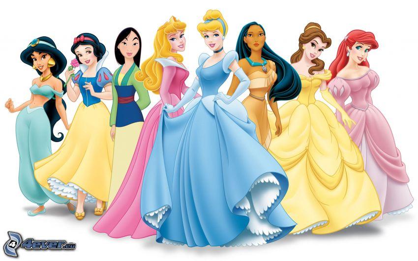 Disney prinsessor, Mulan, Snövit, Törnrosa, Askungen, Pocahontas, Jasmine