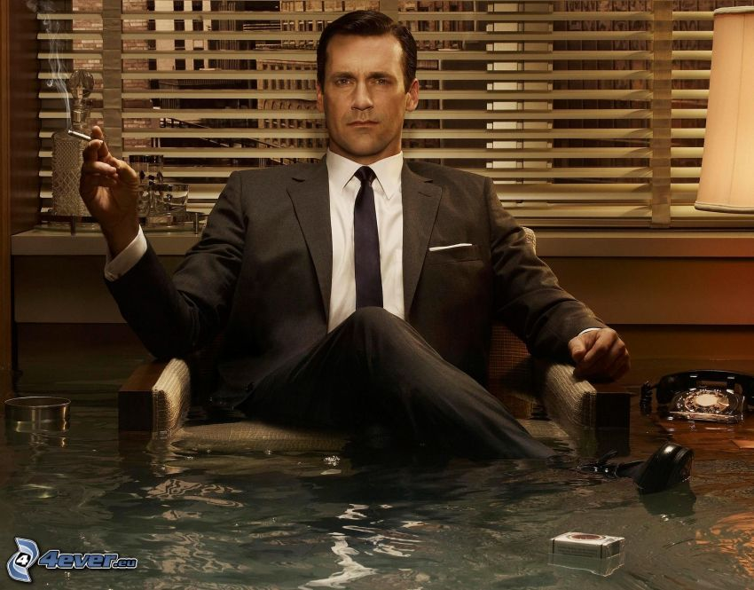 Don Draper, Mad Men, översvämmat rum