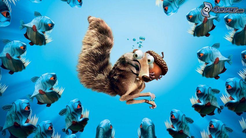 ekorre från filmen Ice Age, ekollon, pirayor, seriefigurer
