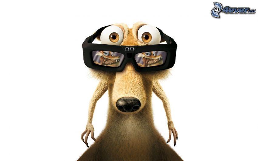 ekorre från filmen Ice Age, glasögon, 3D