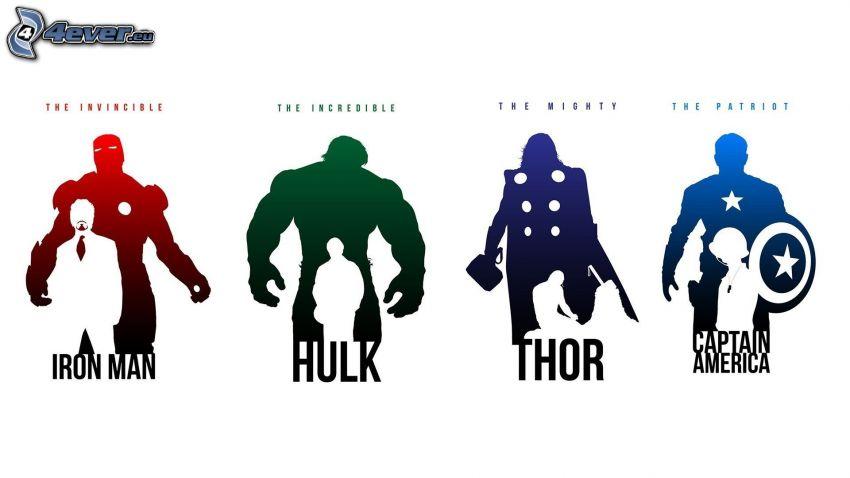 filmer, Iron Man, Hulk, Thor, Captain America