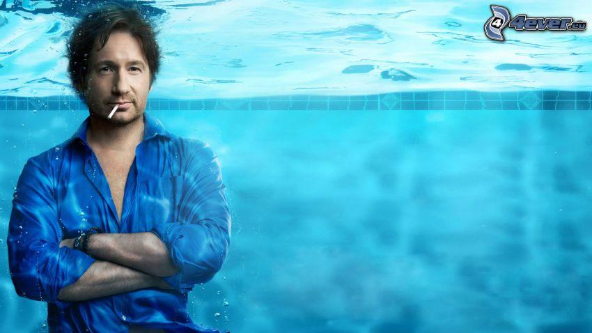 Hank Moody, Californication, man i bassäng, vatten