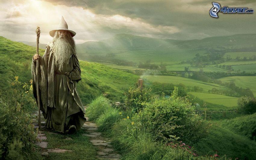 Hobbit, grönt landskap, solstrålar