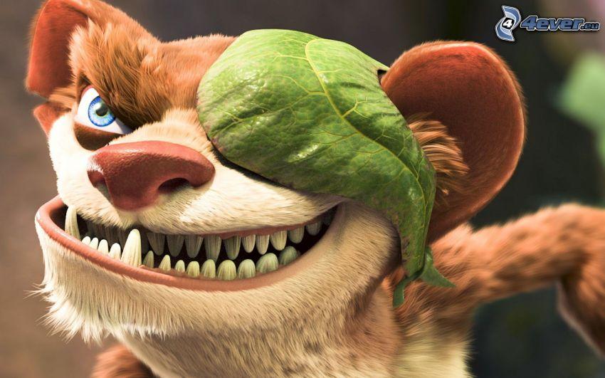 Ice Age, hyena, tänder, löv
