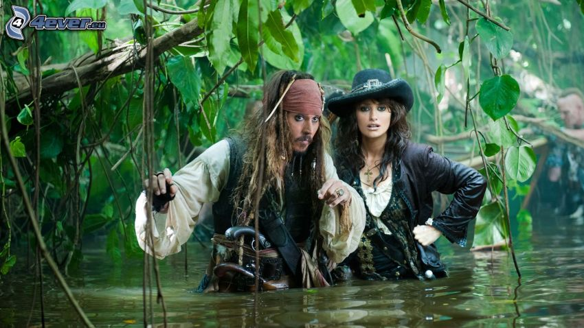 Jack Sparrow, Angelica, Pirates of the Caribbean, djungel