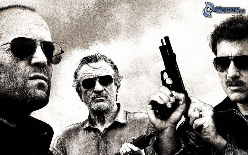 Killer Elite, Jason Statham, Robert De Niro, Clive Owen, svart och vitt